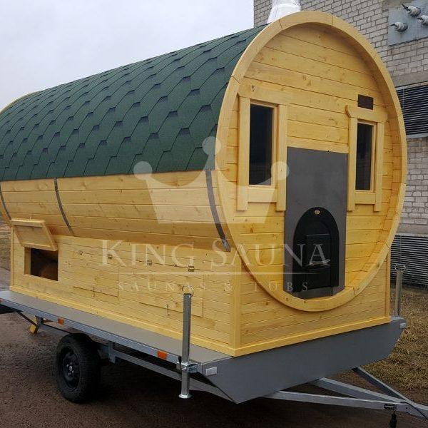 """""""Beweglich"""" sauna 3.5m x 2.1m auf einem Anhänger"""