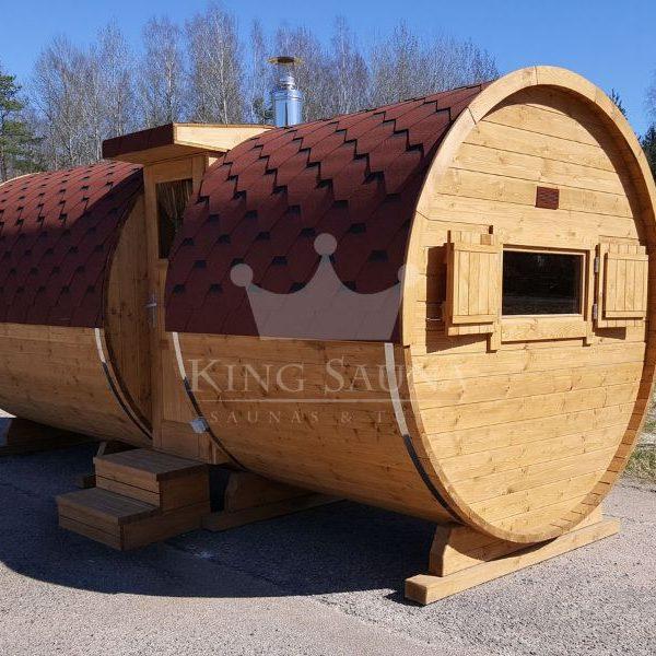 """""""Fass Sauna"""" 5.25m x 2.38m mit seitlichem Eingang"""