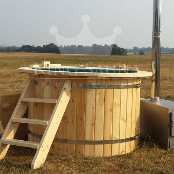 """""""PLASTIC""""  Badezuber 1.8m mit Tannenholzdekoration"""